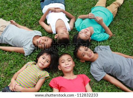 Six children having good time in the park.