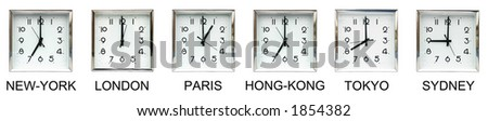 Six clocks representing different time zones : great illustration for international business.