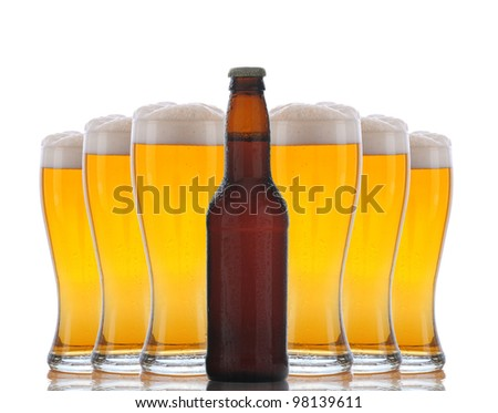 Six cold frosty glasses of beer behind brown beer bottle. Horizontal format over white with reflection.
