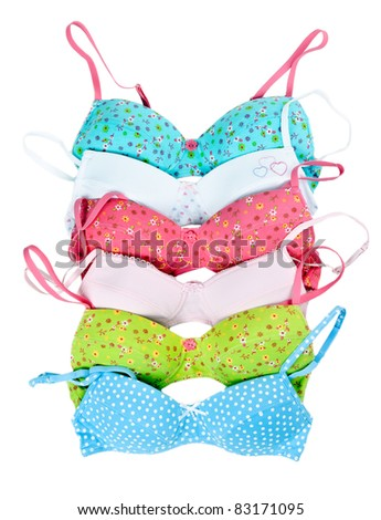six color cotton bra in white background