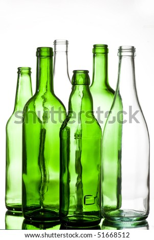 six colored glass bottles