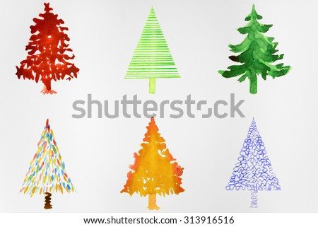Six colorful christmas trees. The dabbing technique gives a soft focus effect due to the altered surface roughness of the paper.
