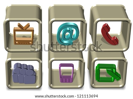Six colorful communication icons positioned on shelves / Communication symbols