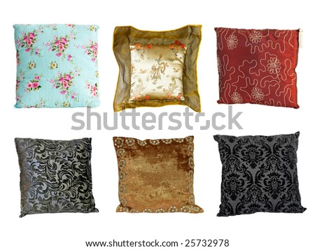 Six colorful decorative pillows isolated on white