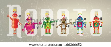 Six colorful robots set on a grunge style background set against the word Robot. - Shutterstock ID 166366652