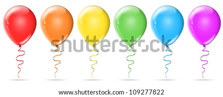 Six colour birthday balloons isolated on white background