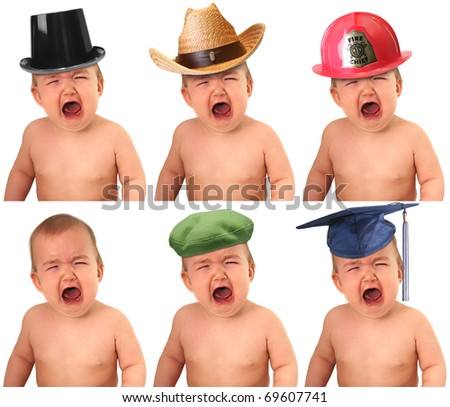 Six crying babies wearing different hat: Cowboy, fireman, tophat, beret, mortarboard,