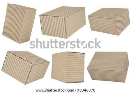 six cuboid cardboard boxes on white background
