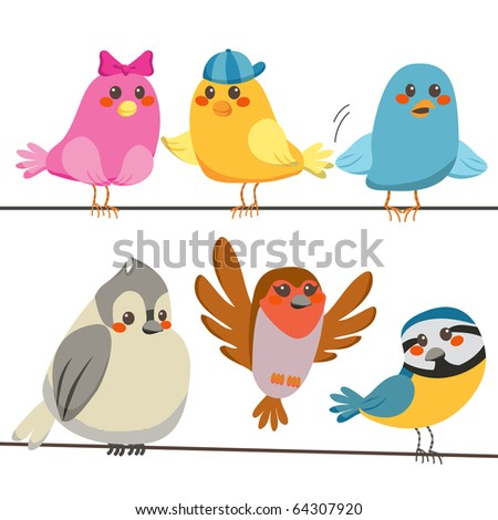 Six cute and colorful little birds perched on power wire lines. Raster version of vector illustration ID: 64144858