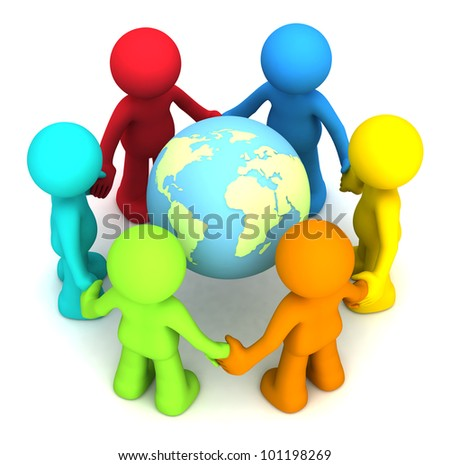 Six 3D human character hollding hands around the planet earth - stock photo