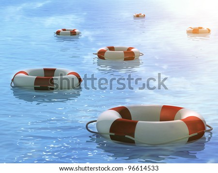Six 3d lifebuoys, floating on waves - stock photo