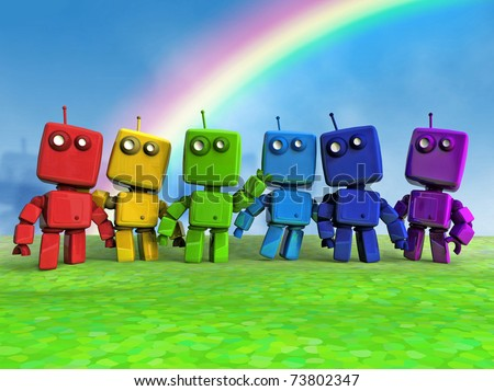 Six 3D Rainbow Robots together on Blue background