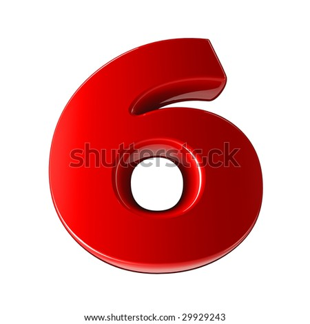Six - 3d red plastic number