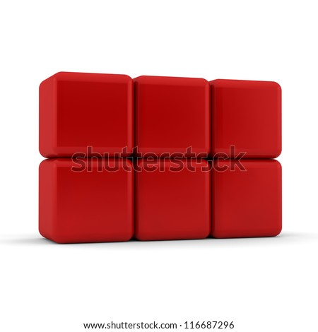 Six 3d simple red cubes with blank faces and equilateral sides that are bevelled , rounded and shaped stacked one on top of the other in a 2x3 formation on a white background