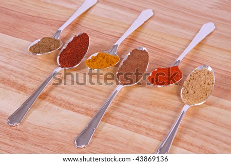 Six different ground spice powders in silver spoons on a wooden background