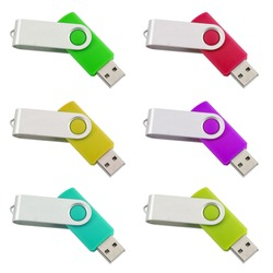 Six differently colored USB-Sticks isolated on white