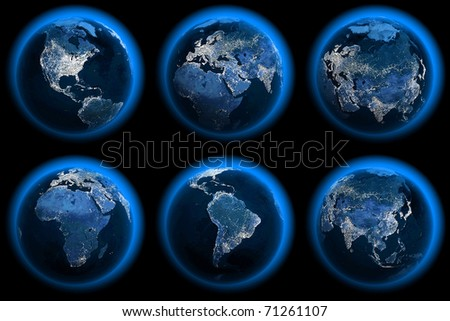Six Earth Globes of the night