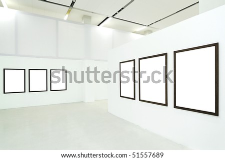Six empty frames in the museum - stock photo