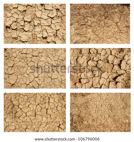 Six examples of cracked and desiccated ground, ground textures set