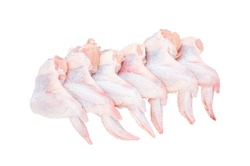 Six fresh chicken wings isolated on a white background. The view from the top.