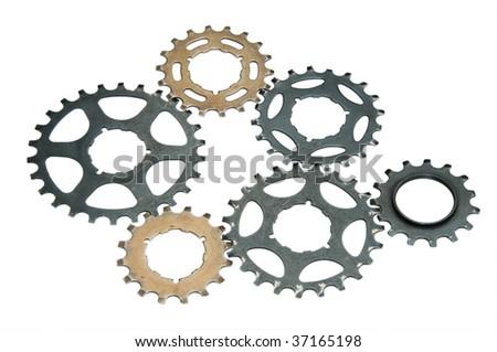 six gear wheels from a bike