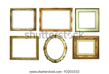Six golden picture frames isolated on white background