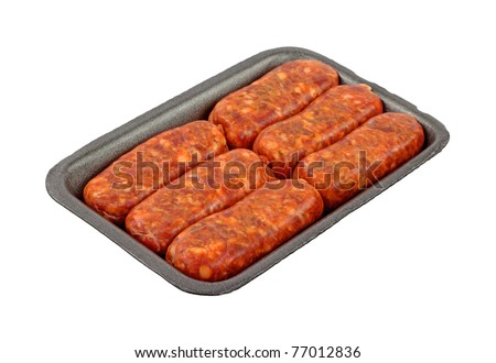 Six hot Italian sausage links on a black plastic meat tray.