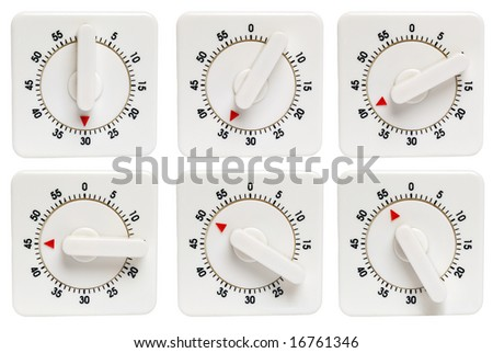 Six kitchen timers 30,35,40,45,50,55 minutes isolated on white