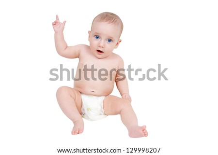 Six month baby points his finger isolated on white