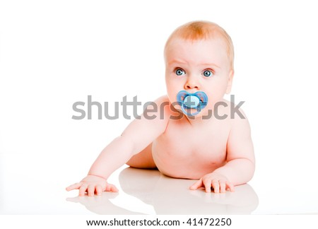 six-month-old baby on a white background
