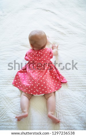 Six months old baby girl in pink dress trying to crawl. Little child in bright clothes lying on bed in nursery. Fashion for infants