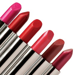 six multi-colored lipstick sticking out of the corner of the frame on the increase