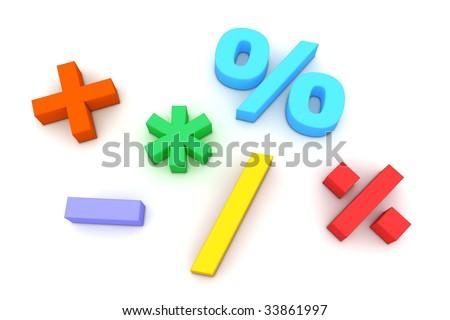 six multicoloured mathematical symbols on white background