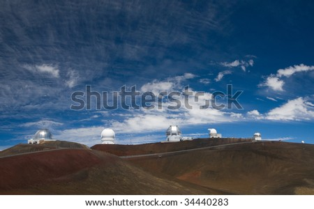 Six observatories standing atop of the Mauna Kea volcano in Hawaii Big Island.