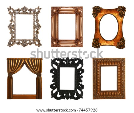 Six ornate,  antique, stylish picture frames isolated over white