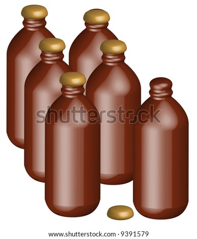 six pack of stubby style beer bottles