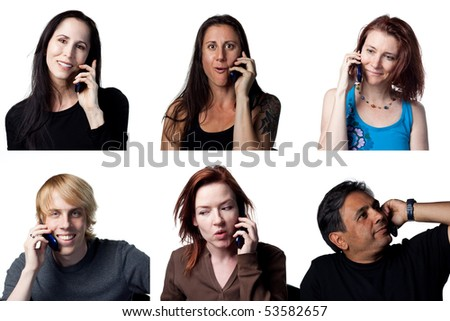 Six people chatting on a cell phone, isolated image