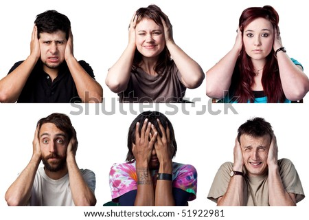 Six people cover their ears or heads, all full size images