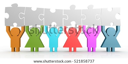 Six people hold puzzle in a line, 3D rendering Foto stock ©