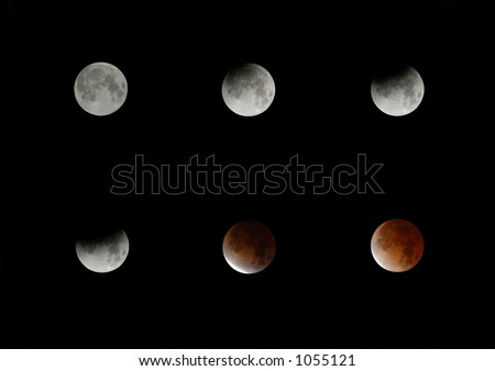Six phases of a total lunar eclipse.
