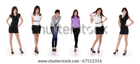 six poses of pretty young teenager girl in 4 different clothes isolated on white