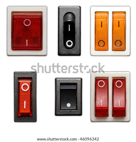 six power switch on off isolated in white background
