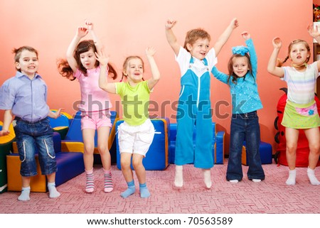 Six preschoolers jumping - stock photo