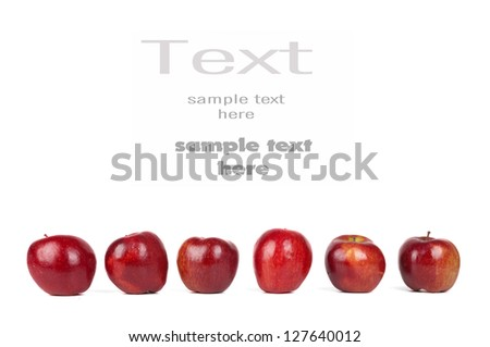 six red apples isolated on white background