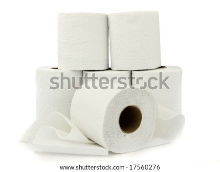 Six rolls of white toilet paper isolated on white