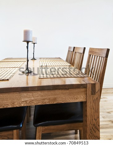 six seat massive wood dining table with chairs #70849513