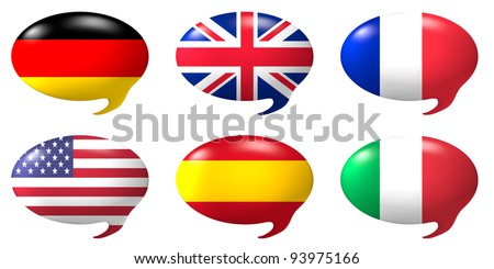 Six speech balloons with the design of the flags of USA, Germany,Great Britain, France, Italy and Spain