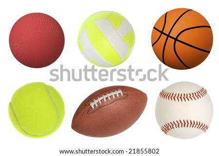 Six sports balls inclusing a dodgeball, volleyball, basketball, tennis ball, football and baseball isolated on white and at full native resolution.
