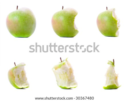 Six stages of eating green apple on white background.