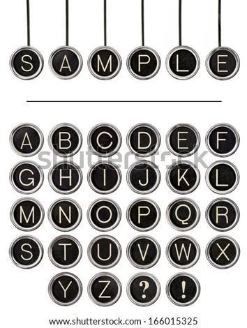 six vintage typewriter keys ...